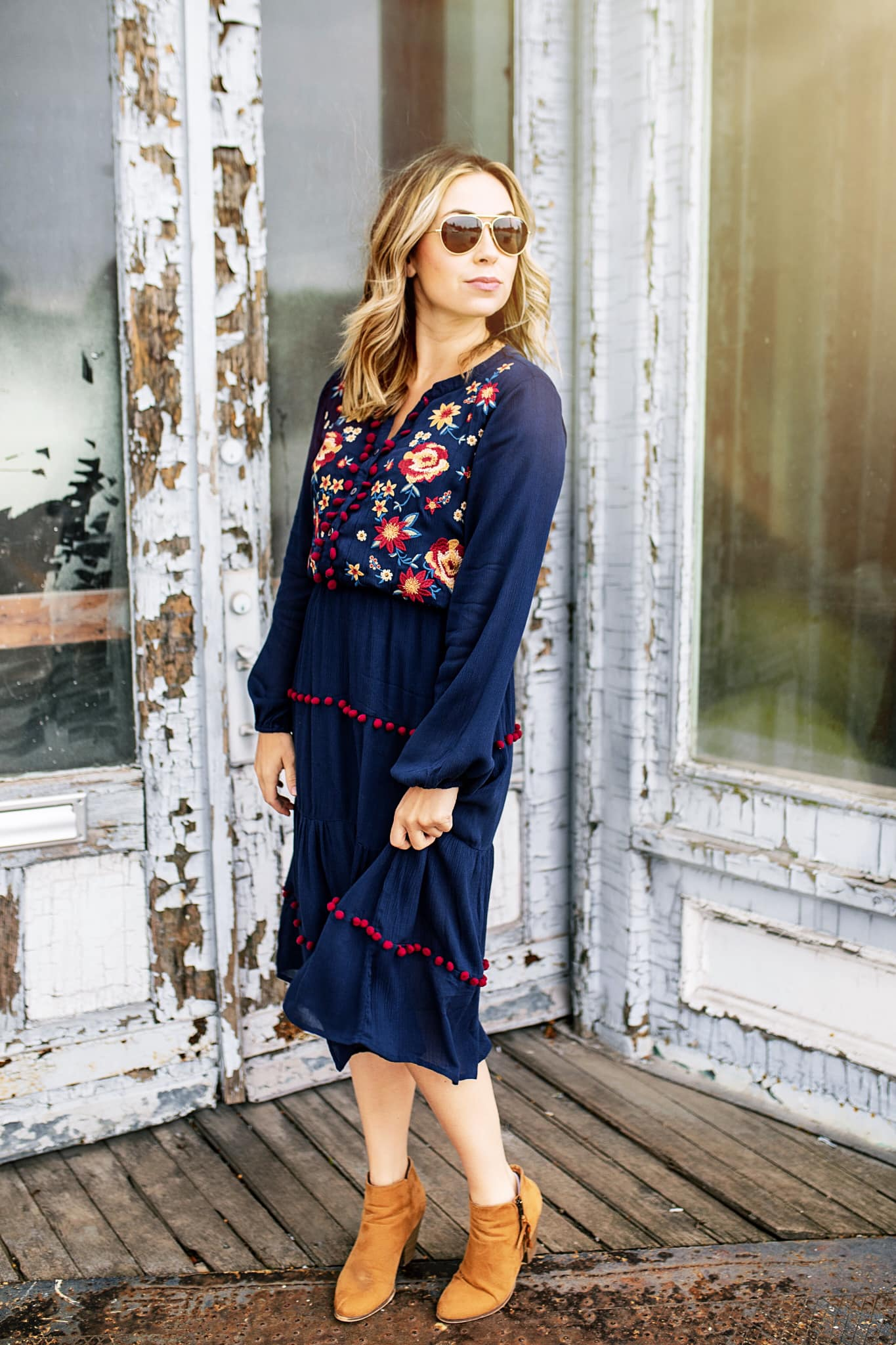 Navy Tierred Midi Dress