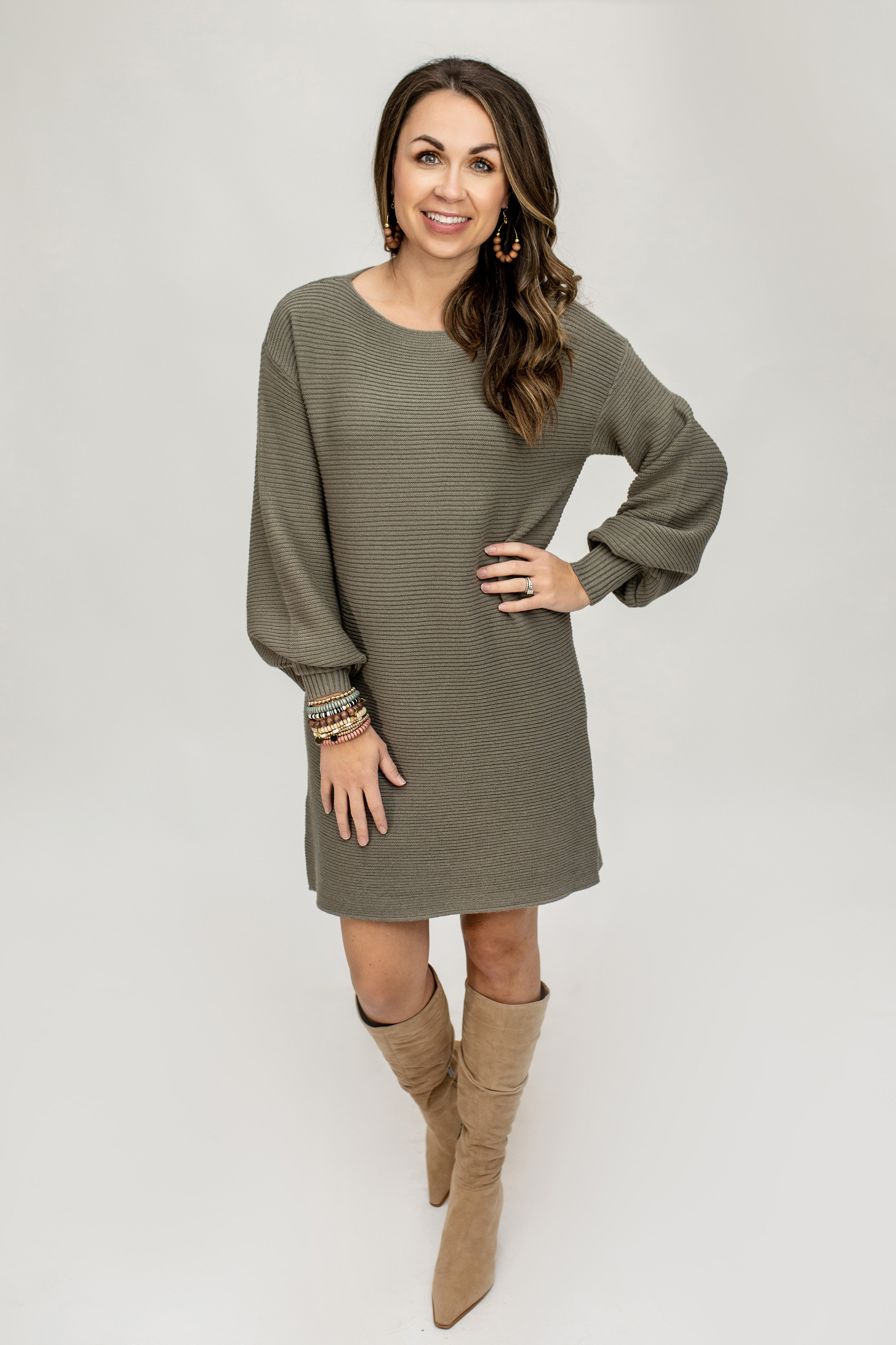 Olive Balloon Sleeve Ribbed Dress - VerClare Boutique