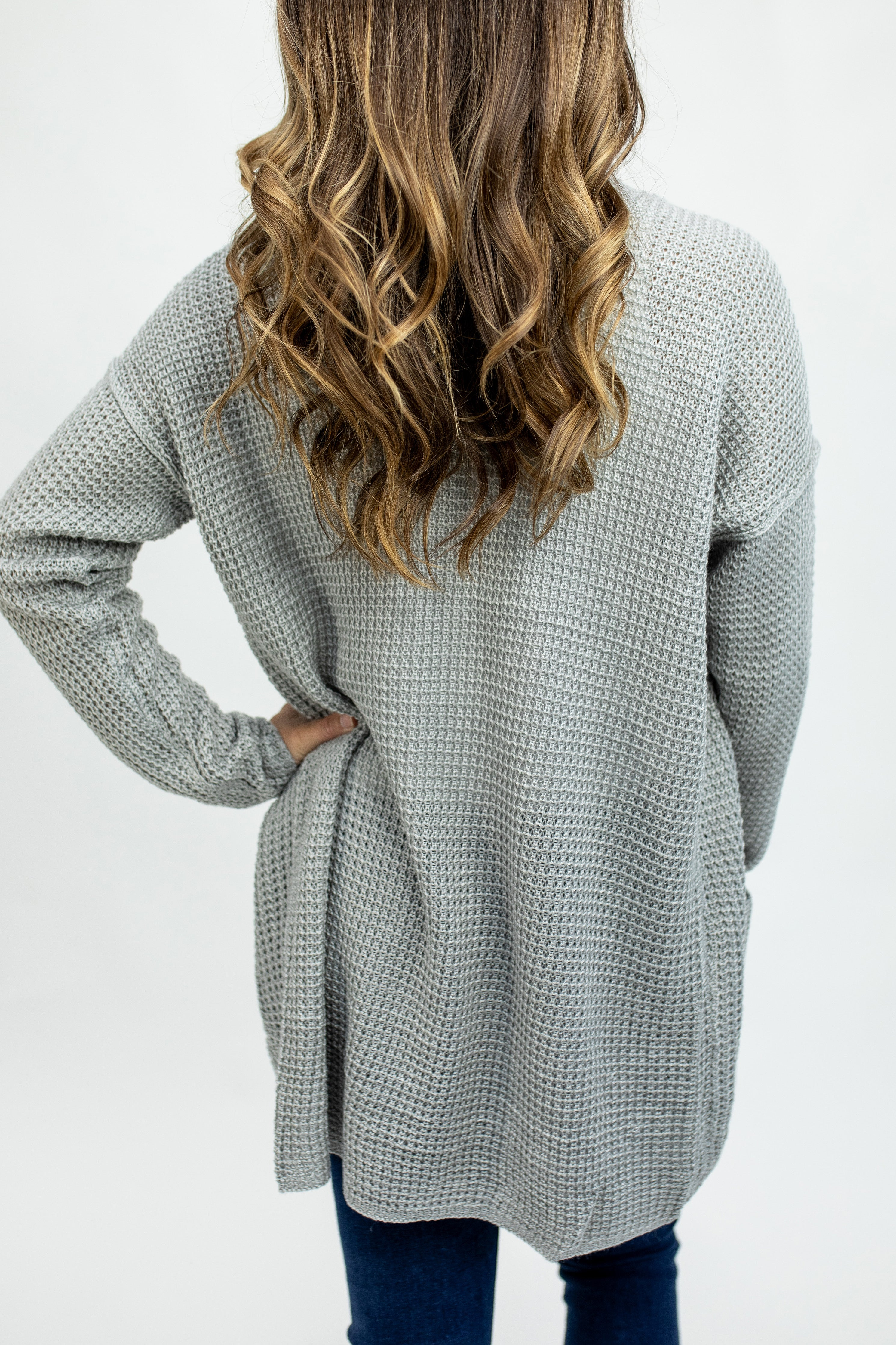 Open Front Waffle Cardigan-Heather Grey
