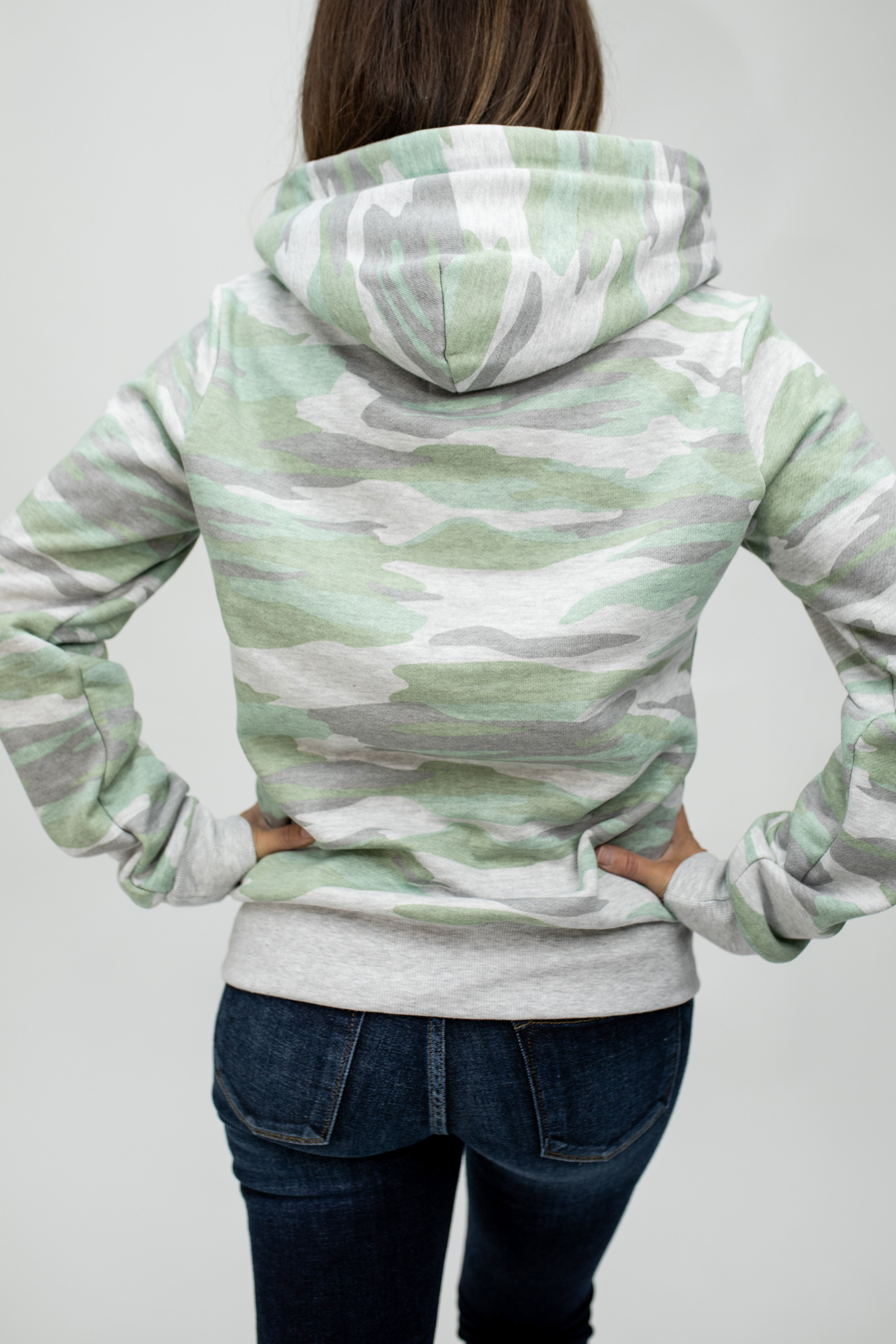 Light Green Camo Pullover Hoodie
