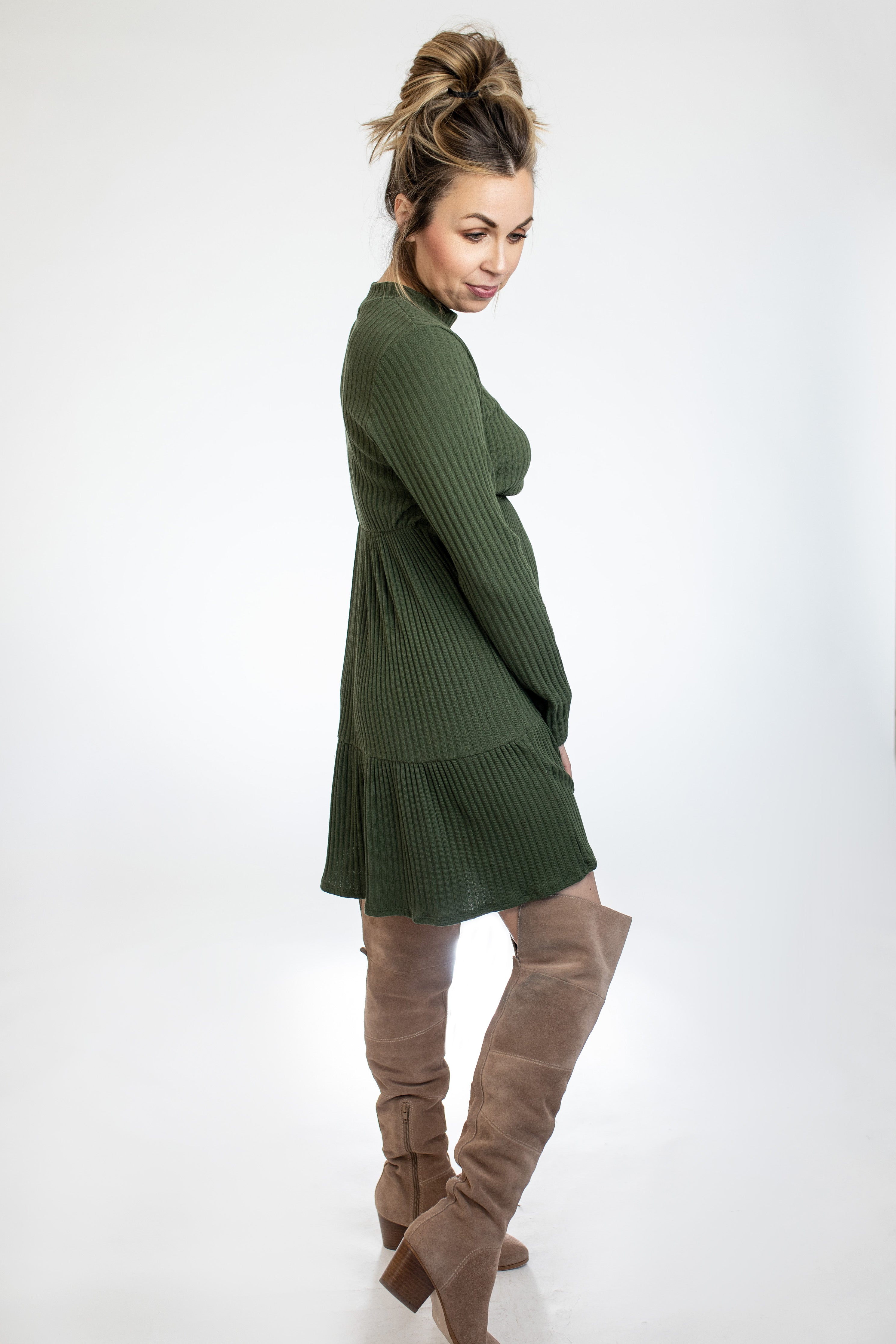 Ribbed Knit Olive Dress