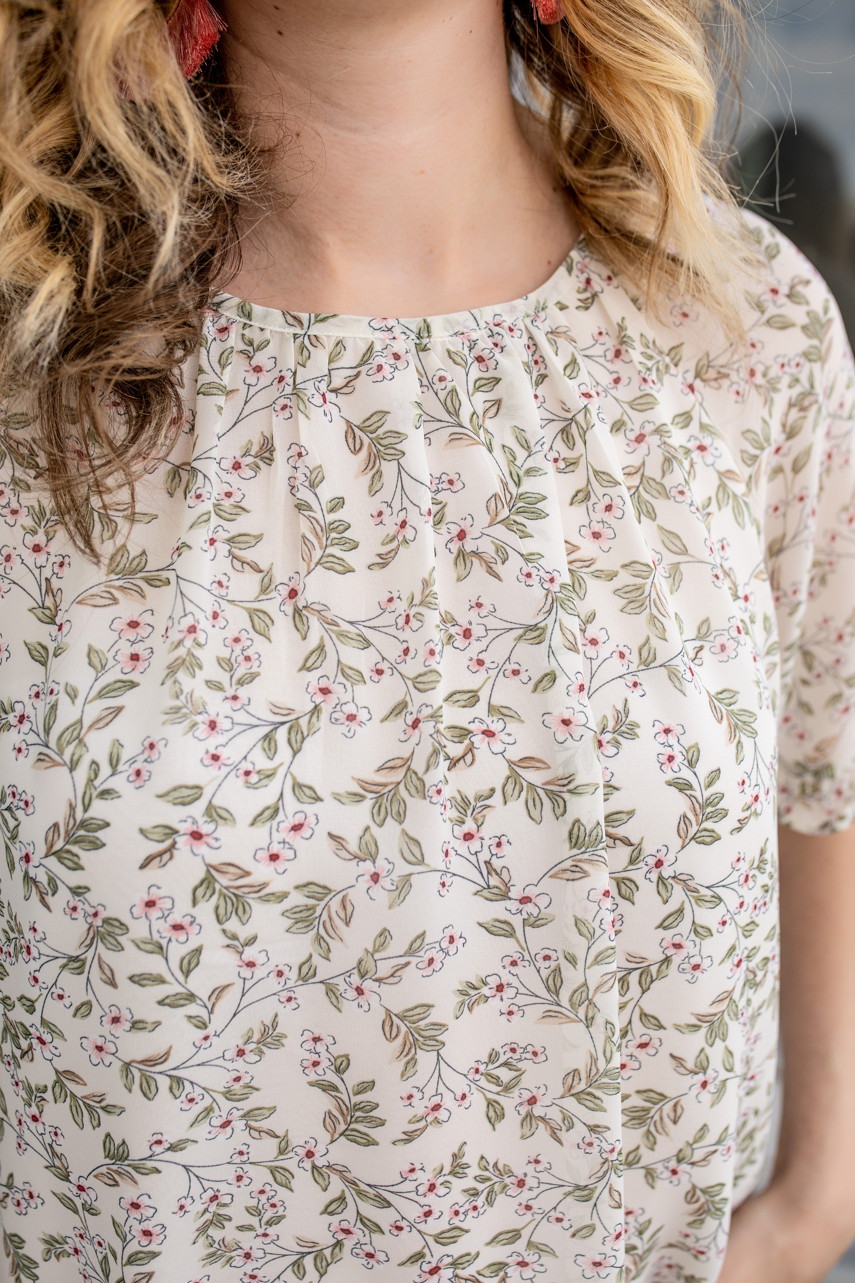 Summer Garden Gathered Blouse | VerClare Boutique