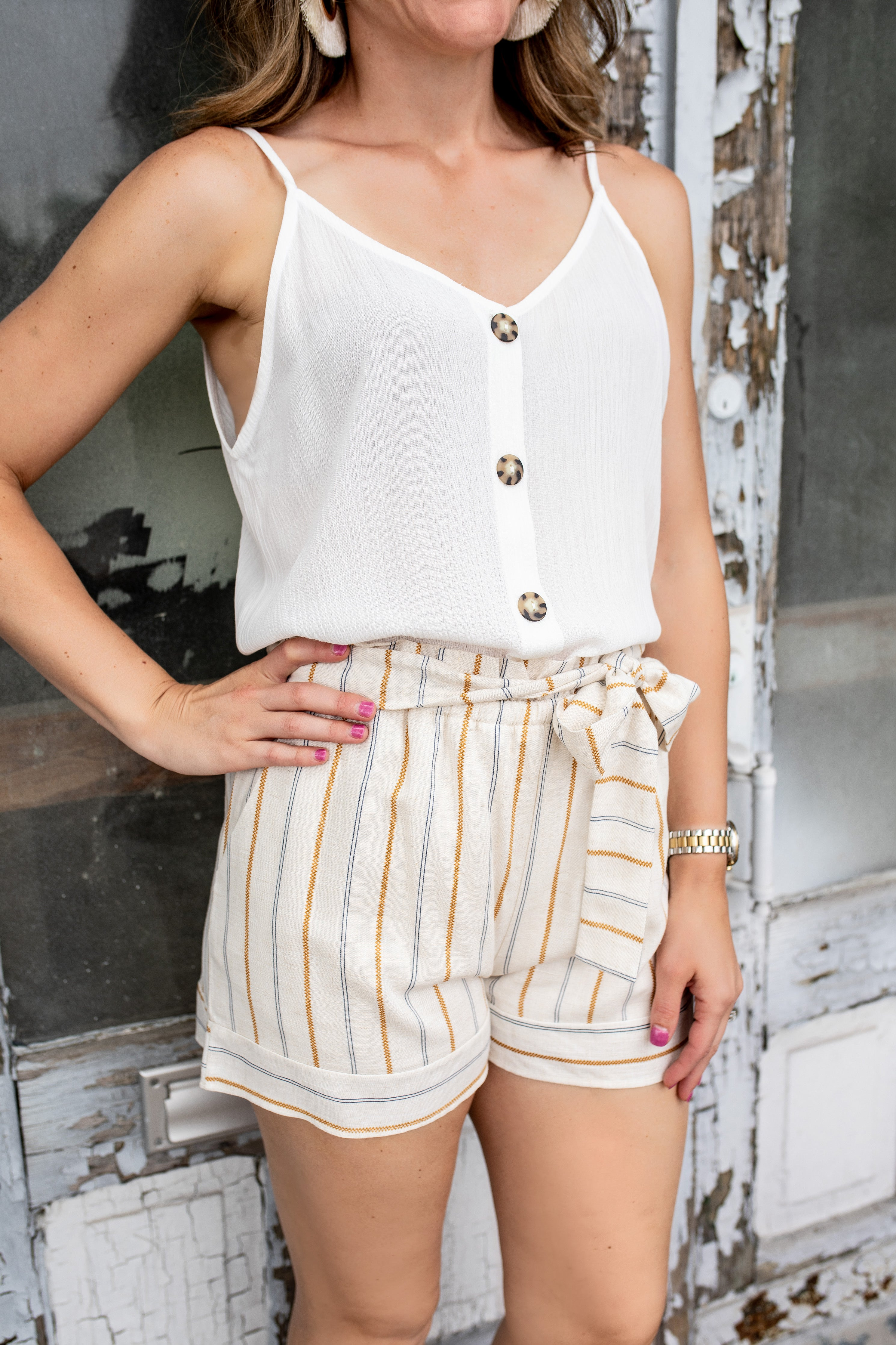 Ivory Stripe Casual Shorts | VerClare Boutique