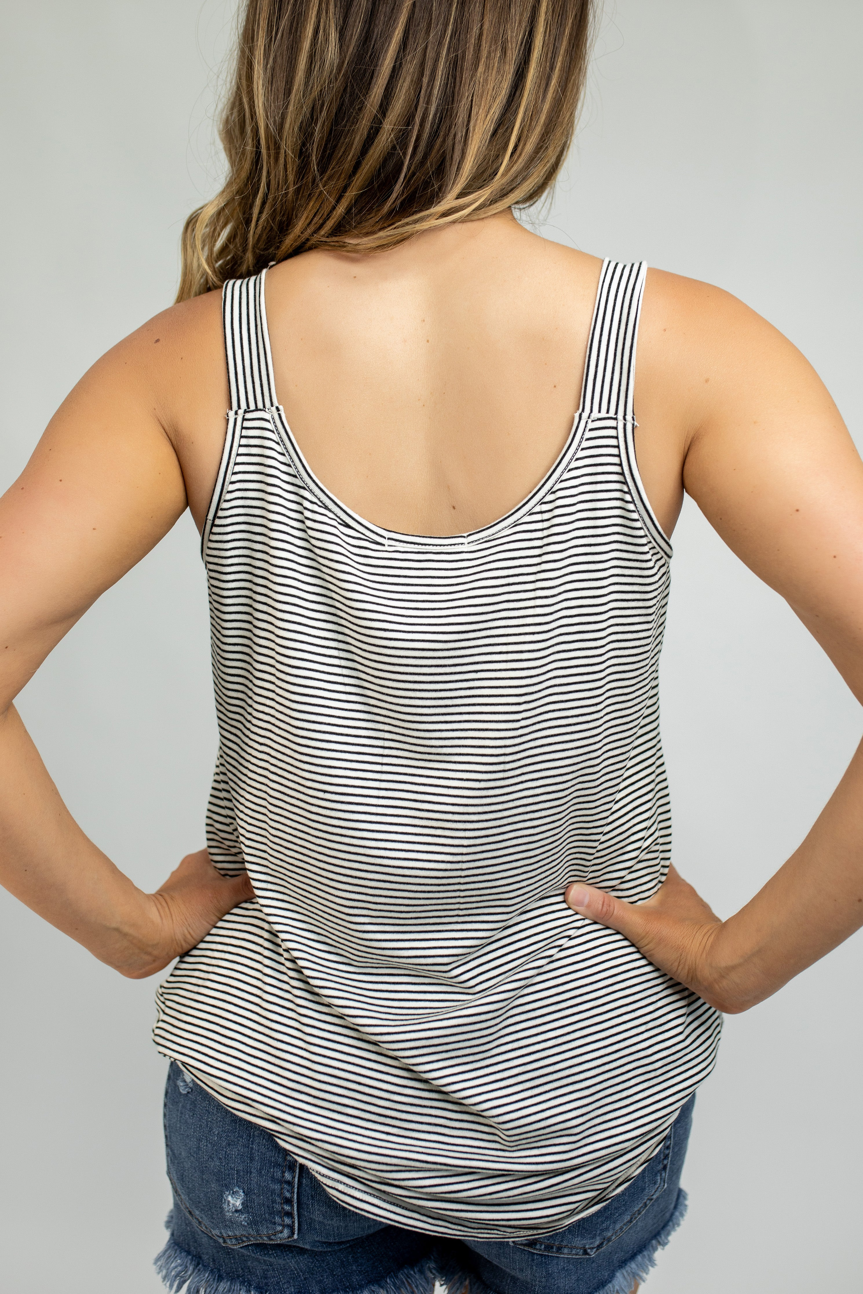 Janna Front Knot Striped Cami