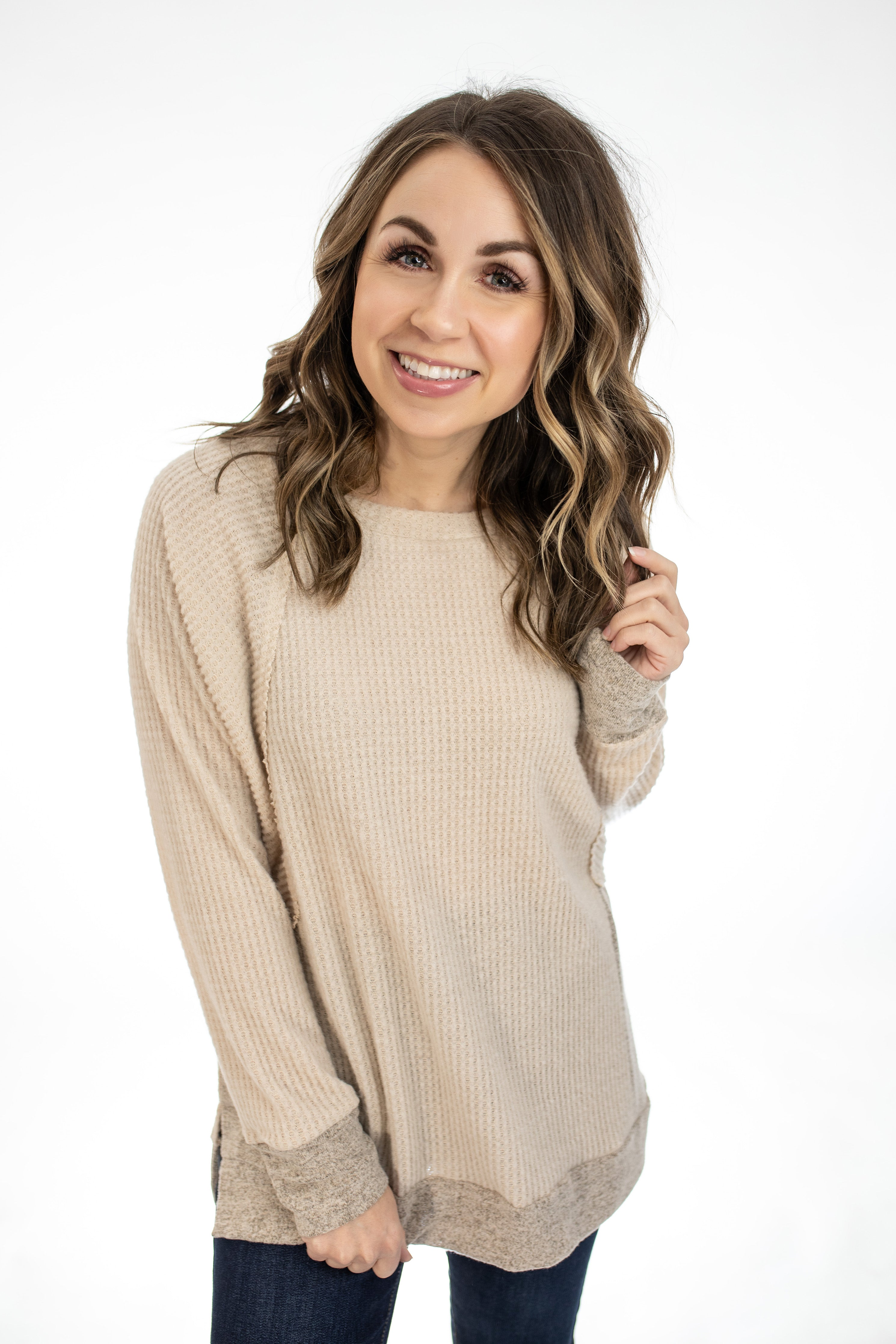 Two-Tone Beige Pullover