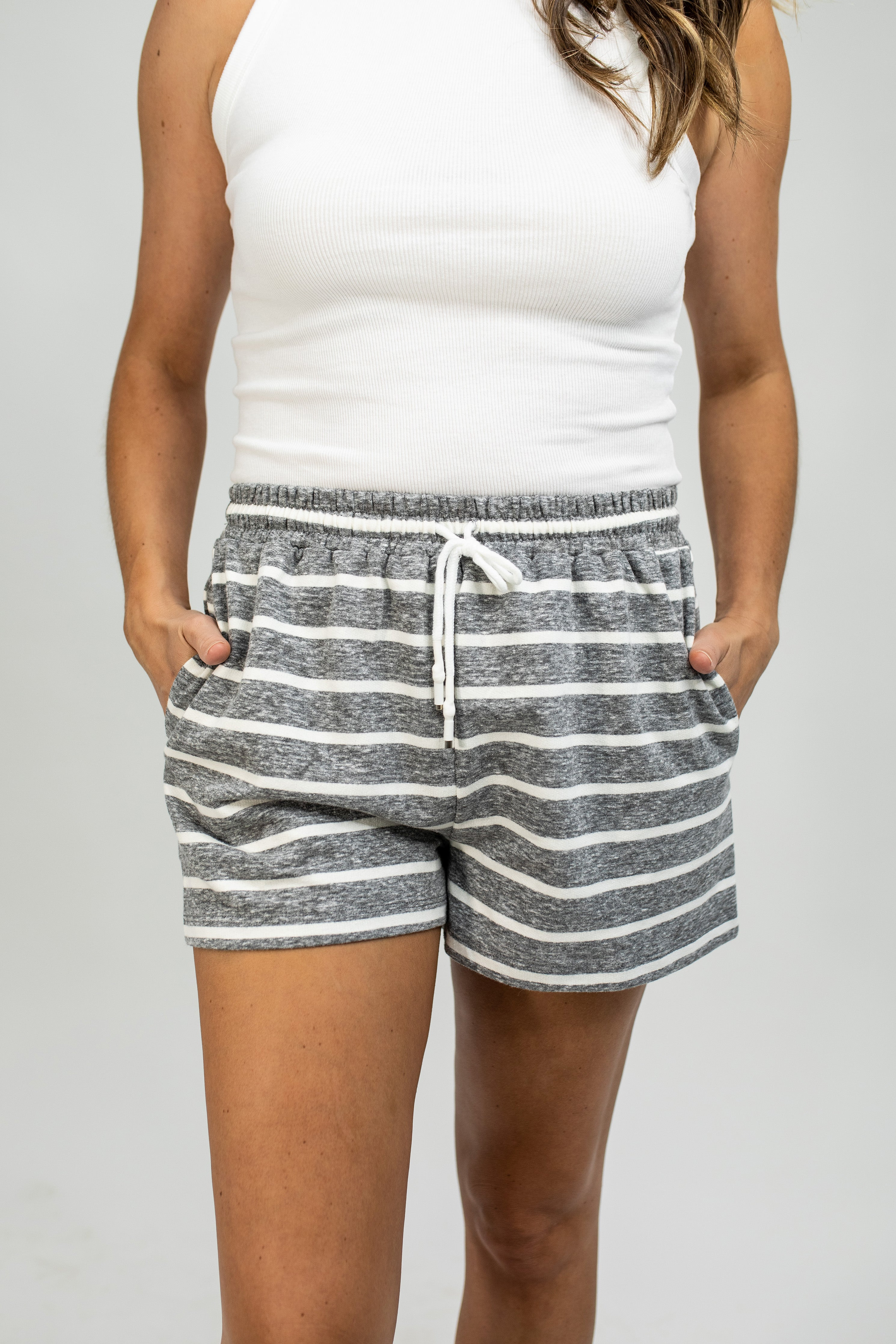 French Terry Striped Shorts
