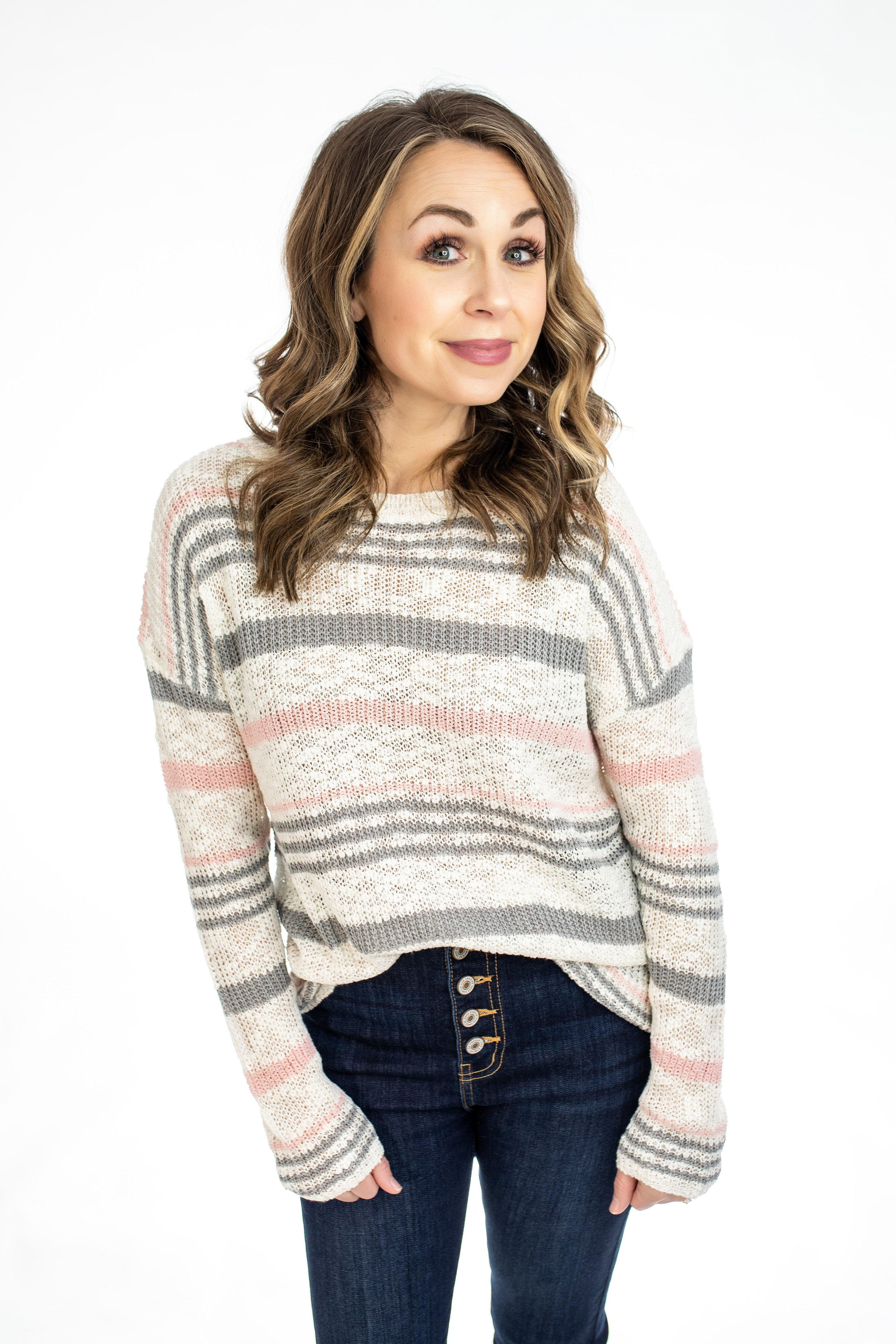 Grey and Pink Stripe Pullover
