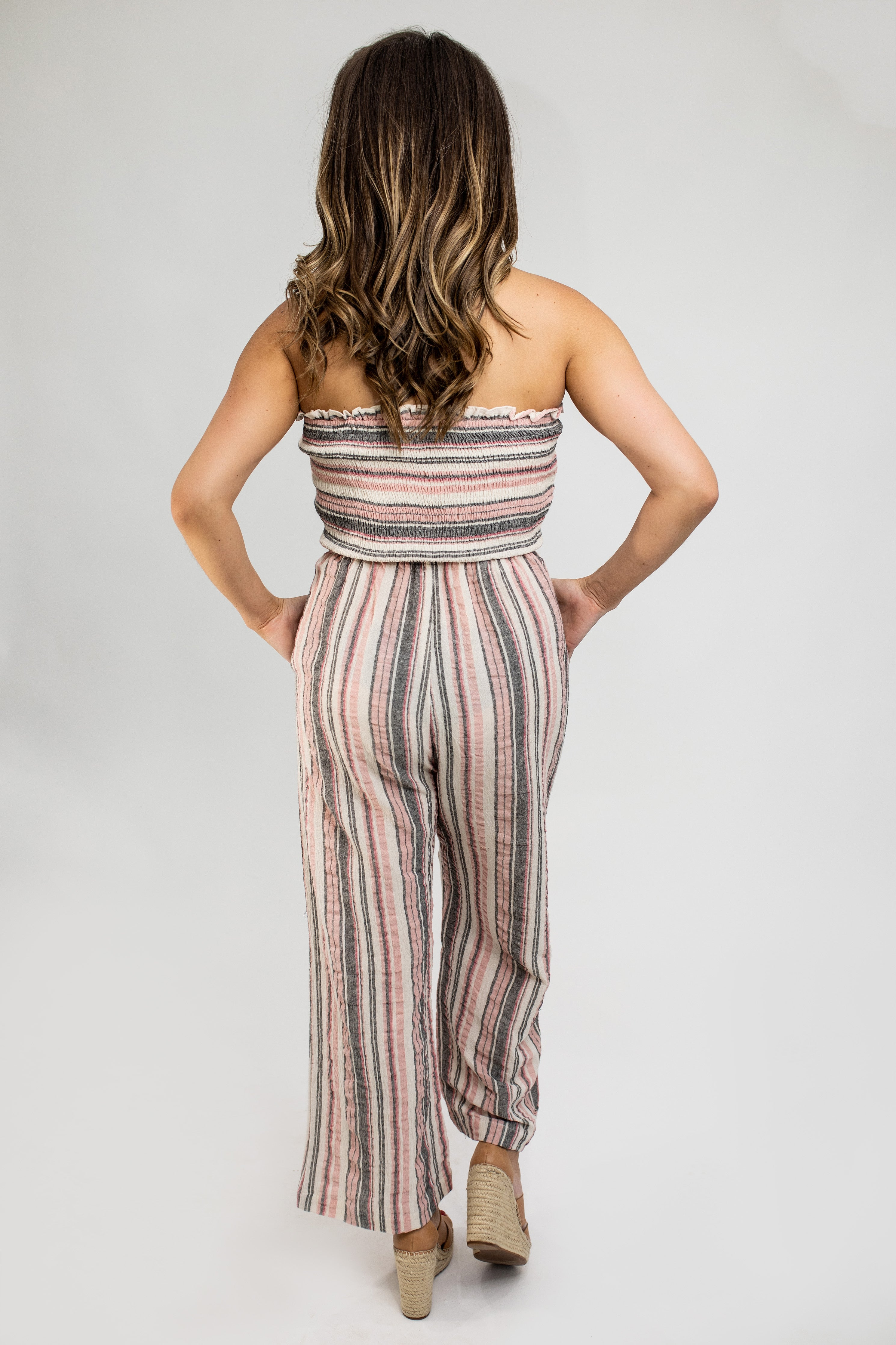 Striped Rose Strapless Palazzo Jumpsuit - VerClare Boutique