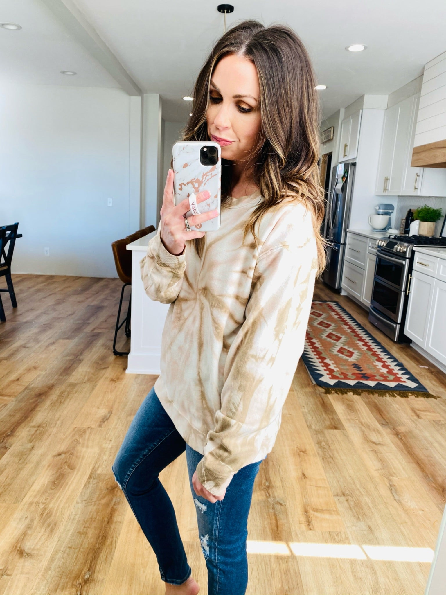 Taupe Tie Dye Tee - VerClare Boutique