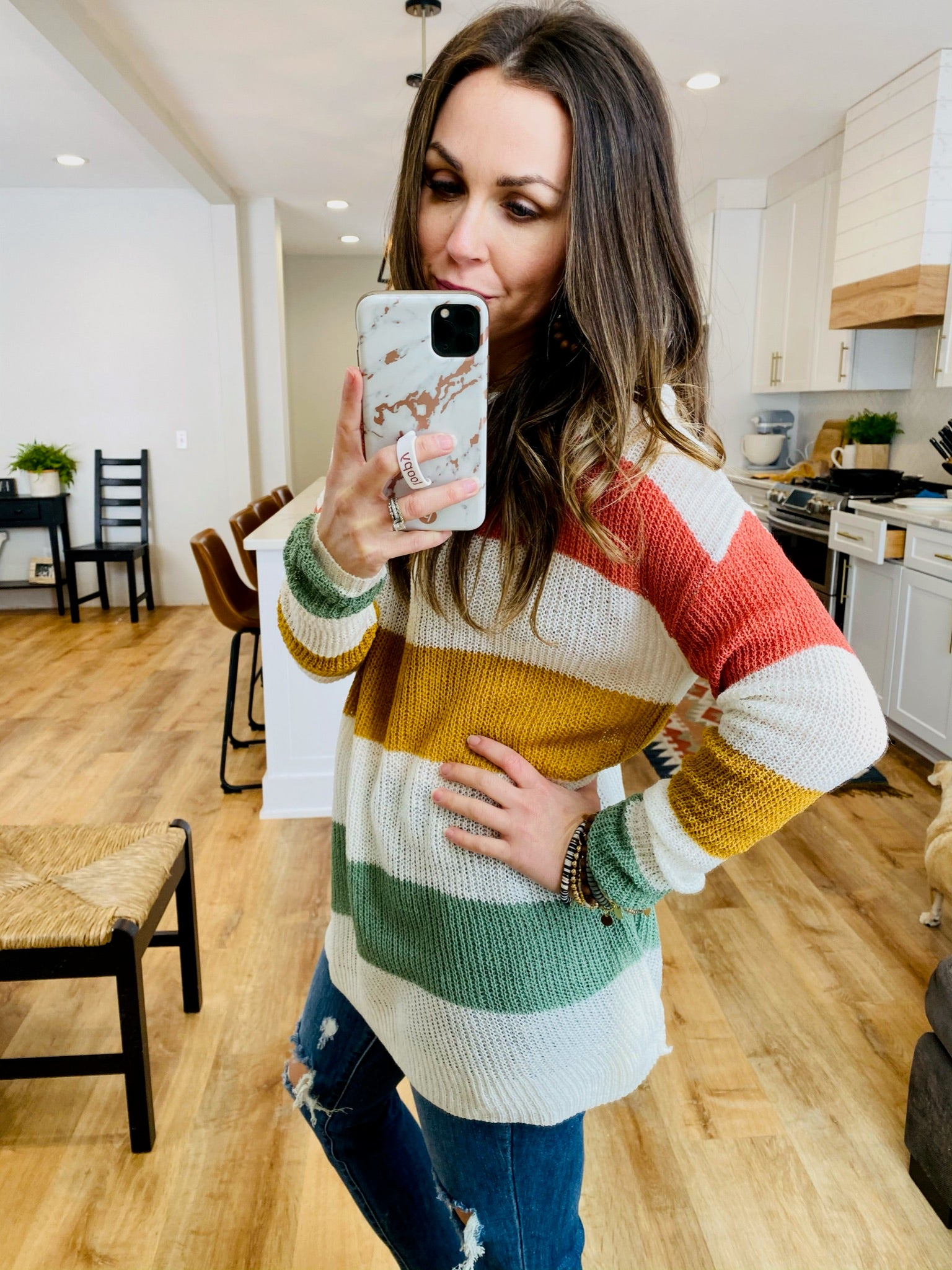 Loose Knit Coral/Olive Sweater - VerClare Boutique