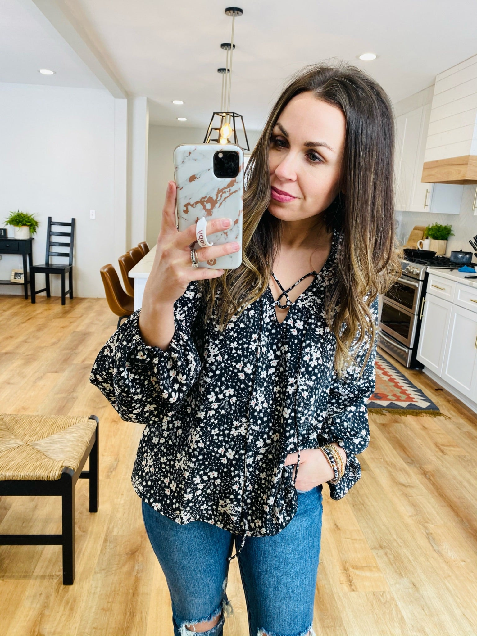Puff Sleeve Floral Print Top - VerClare Boutique