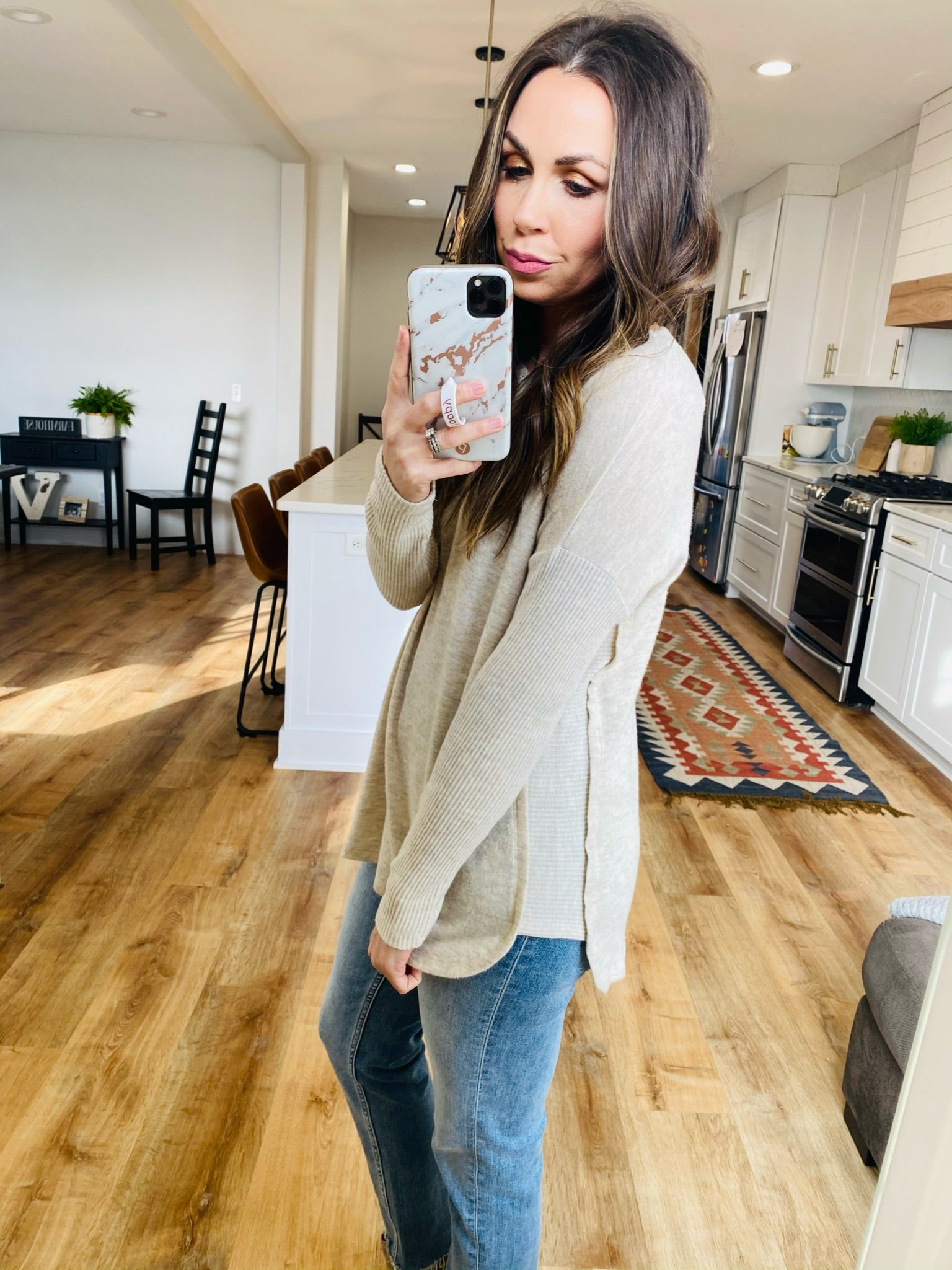 Tan Ribbed Inset Sweater - VerClare Boutique