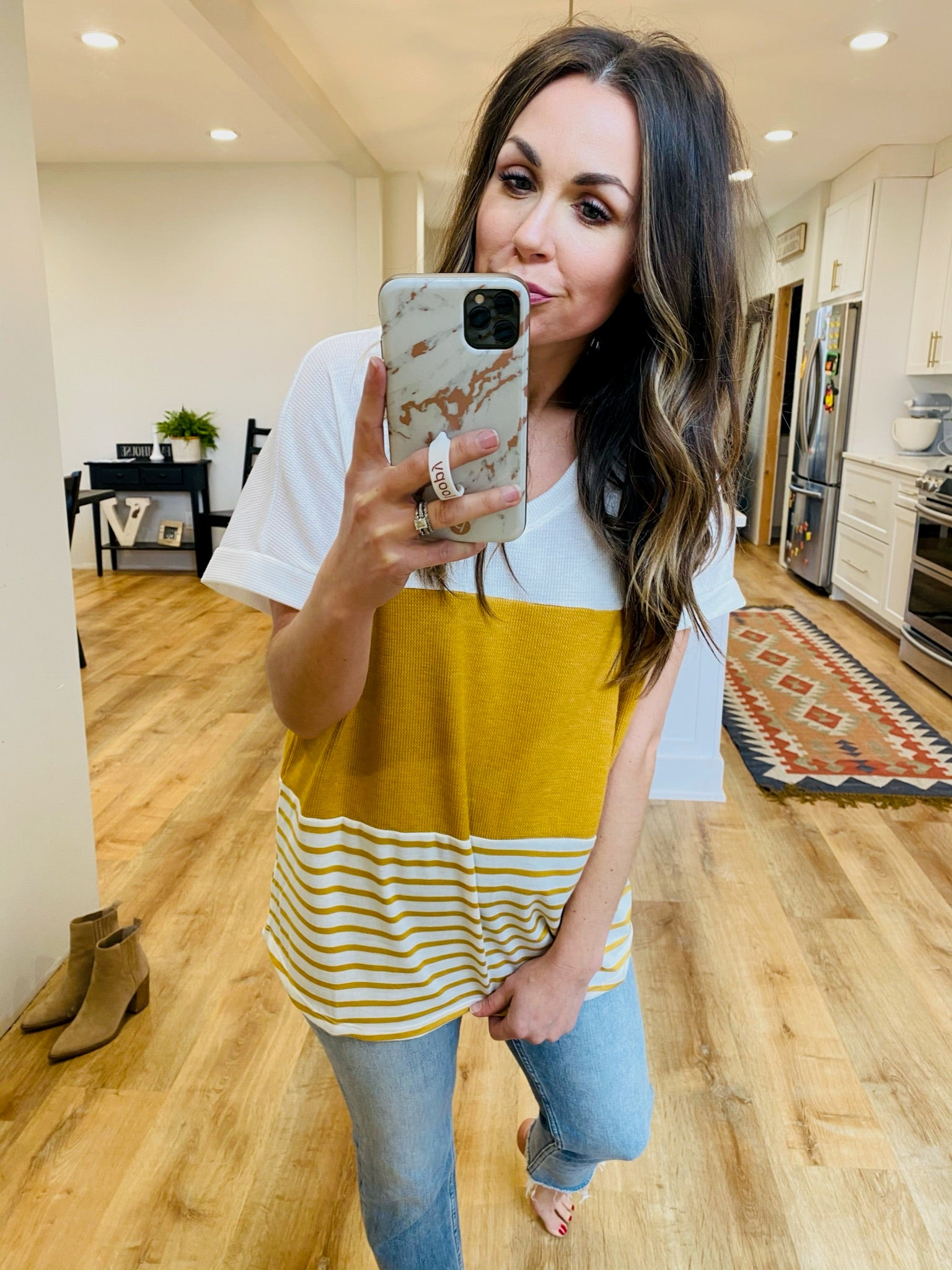 V-Neck Short Sleeve Waffle Top-4 Colors - VerClare Boutique