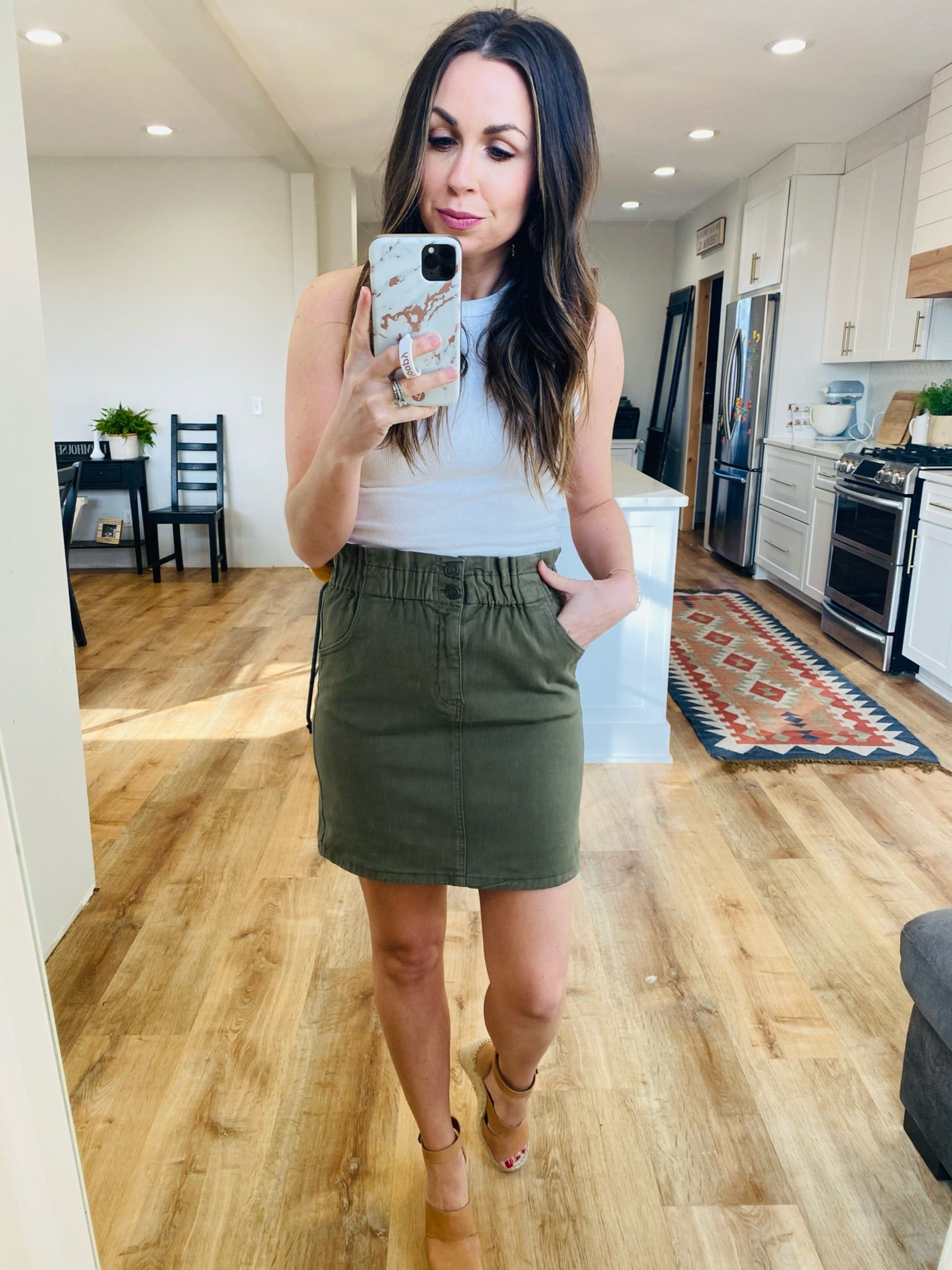 Shirred Waist Olive Skirt - VerClare Boutique
