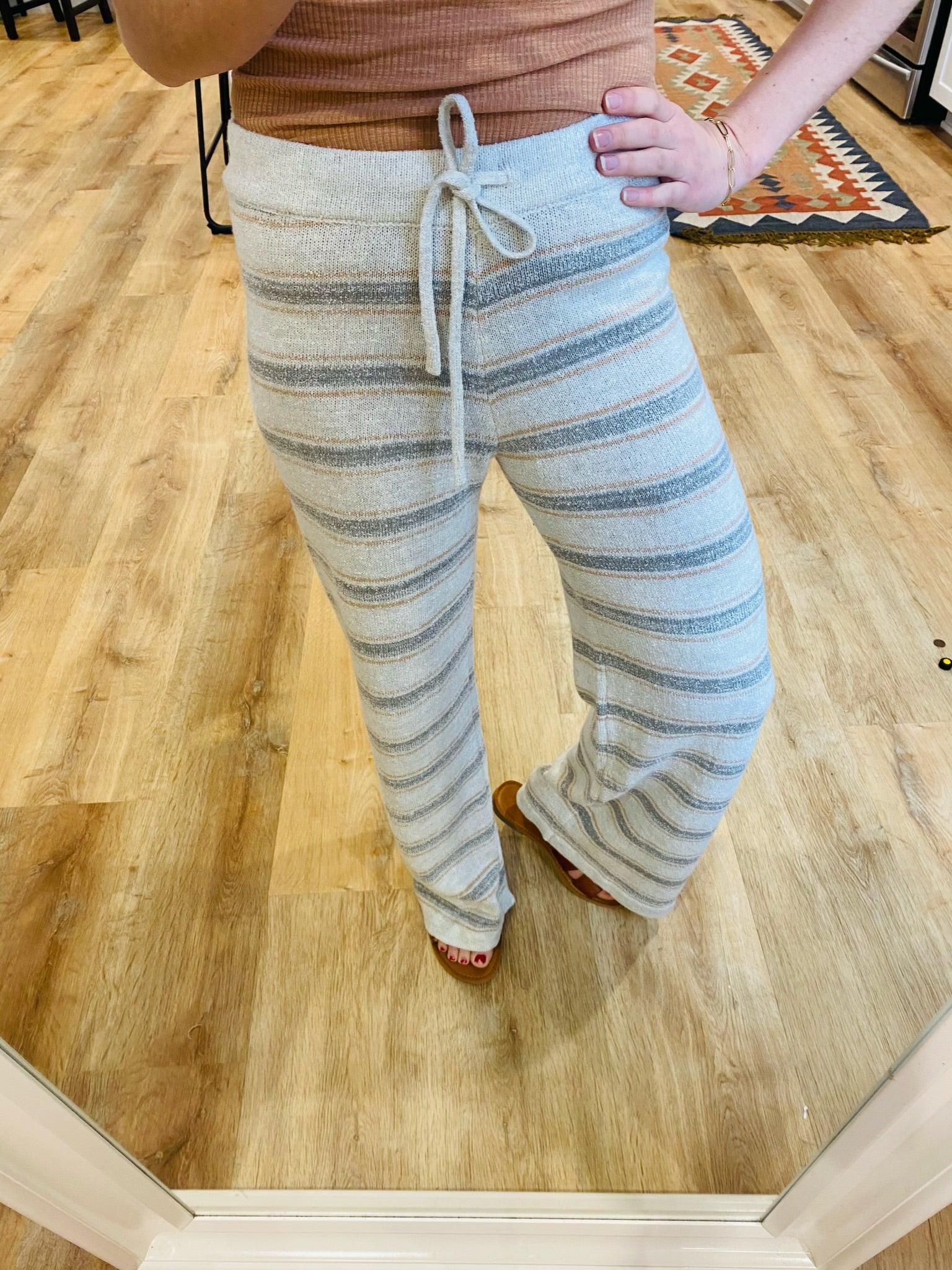Almond/Grey Striped Knit Pants - VerClare Boutique