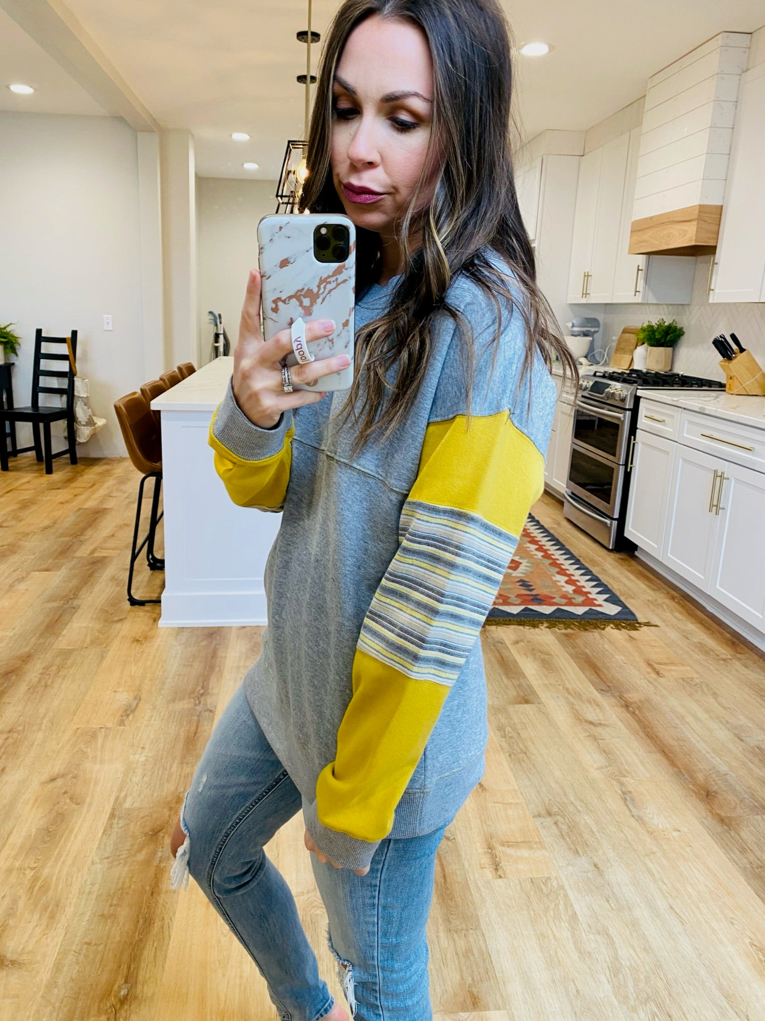 Grey/Mustard Stripe Pullover - VerClare Boutique