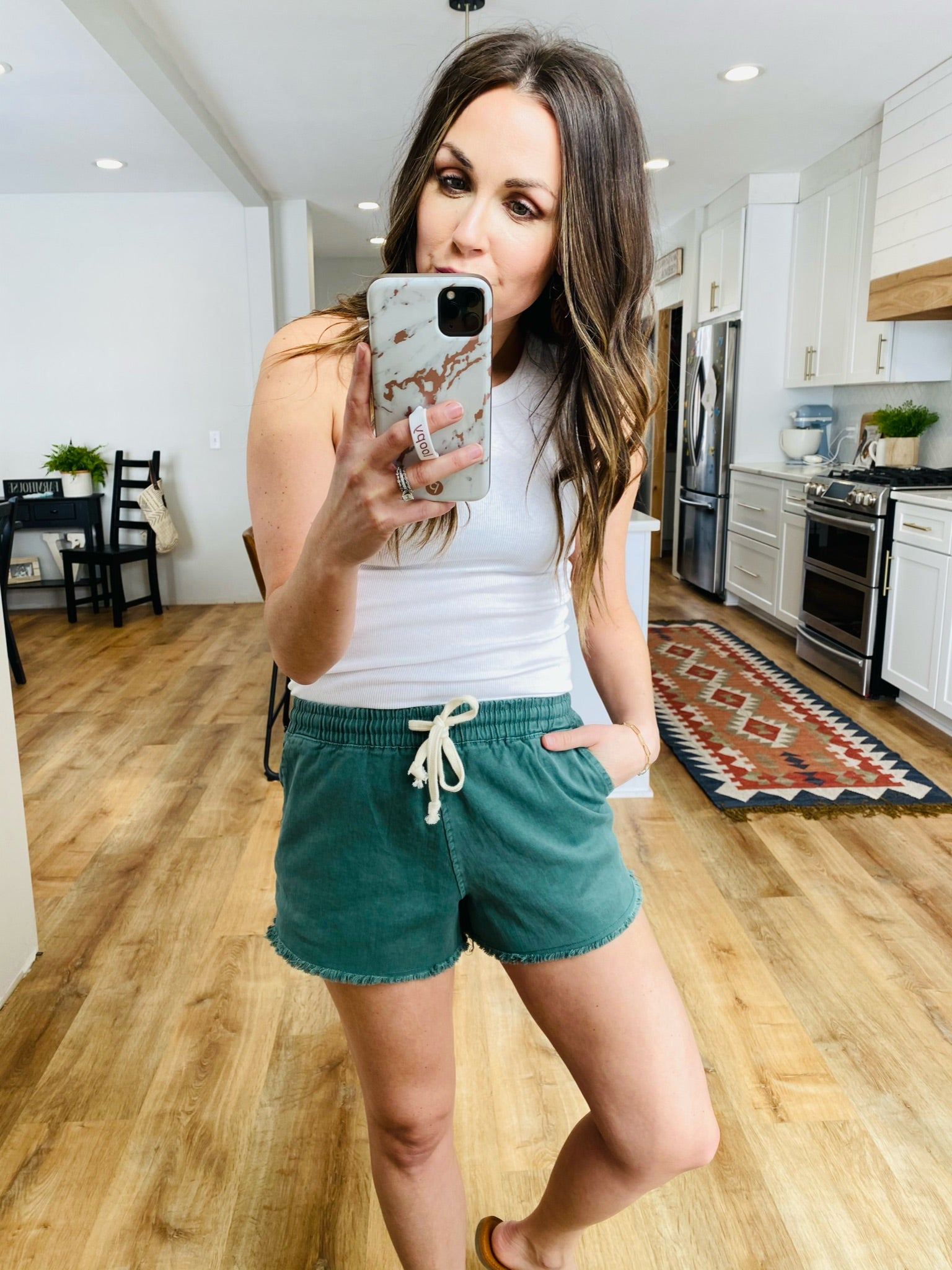 Sydney Frayed Drawstring Shorts-Teal - VerClare Boutique