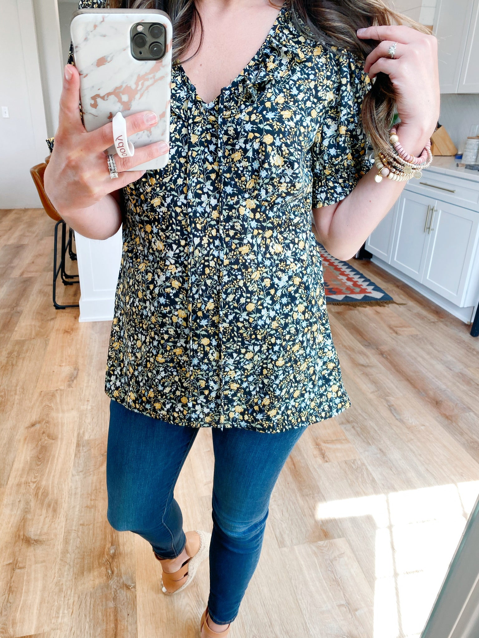 Floral Puff Sleeve Top-VerClare Boutique, Chenoa Illinois