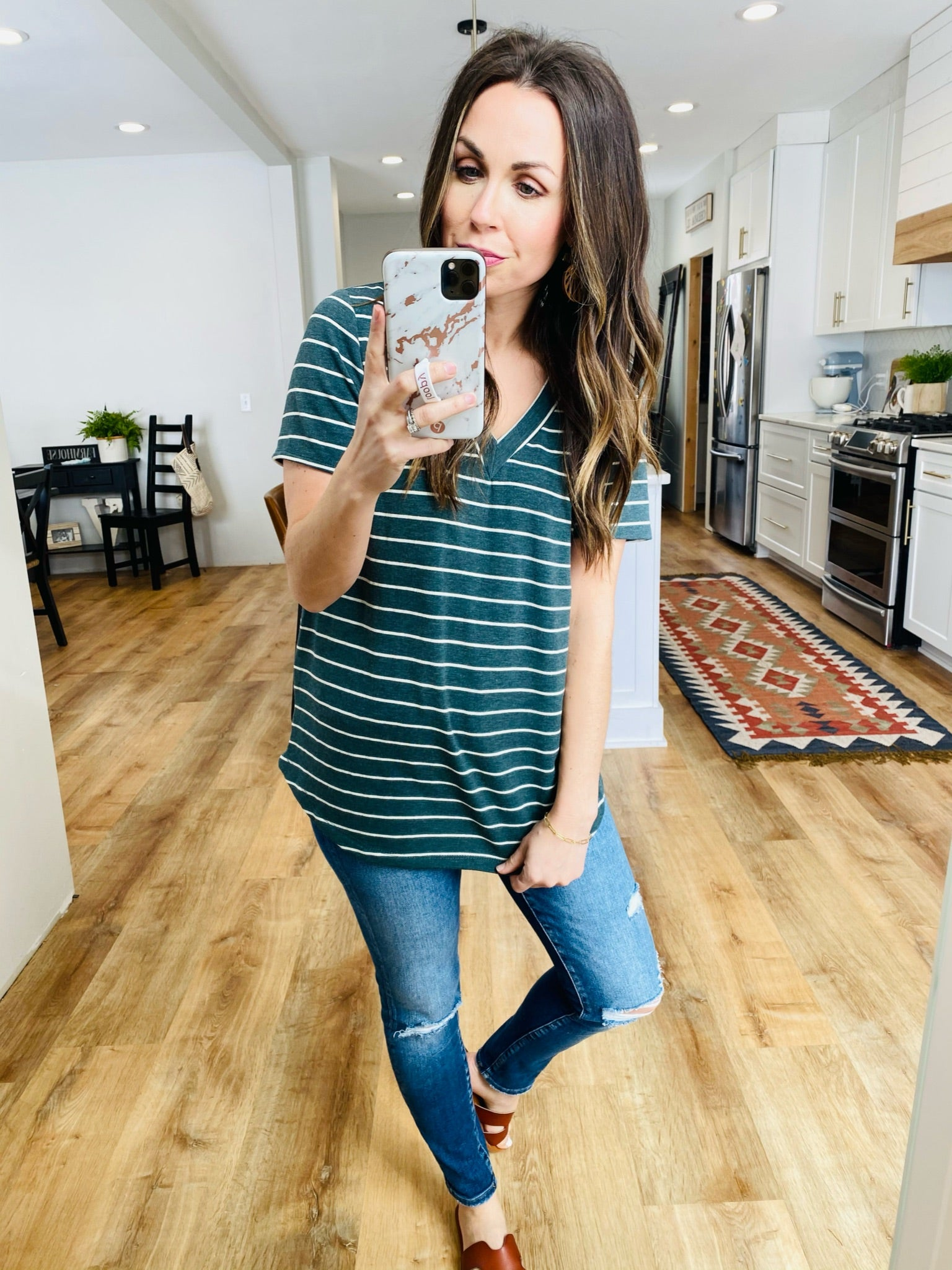 Katie Striped Top-Hunter Green - VerClare Boutique