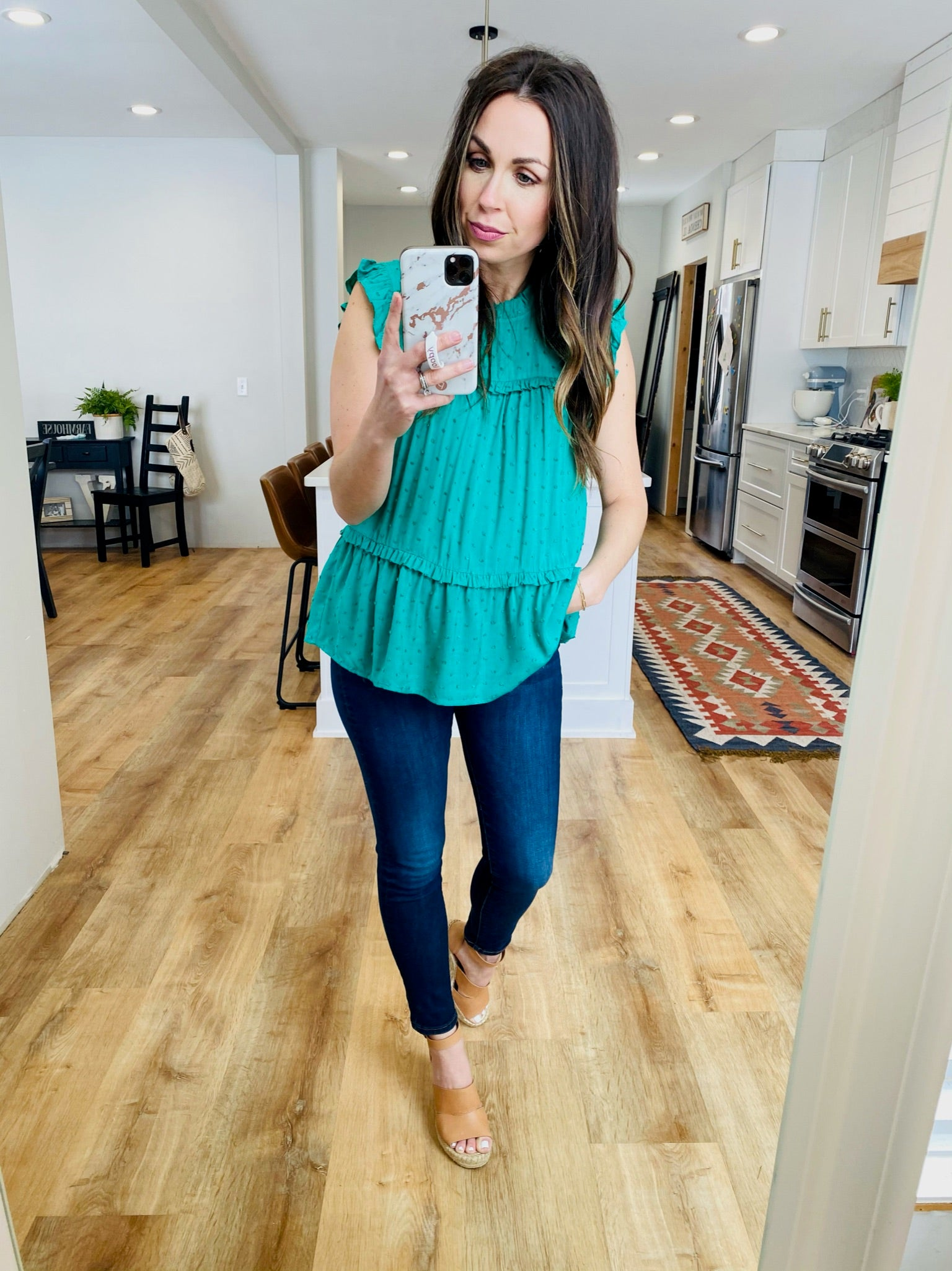 Tiered Ruffle Keyhole Top-Kelly Green - VerClare Boutique