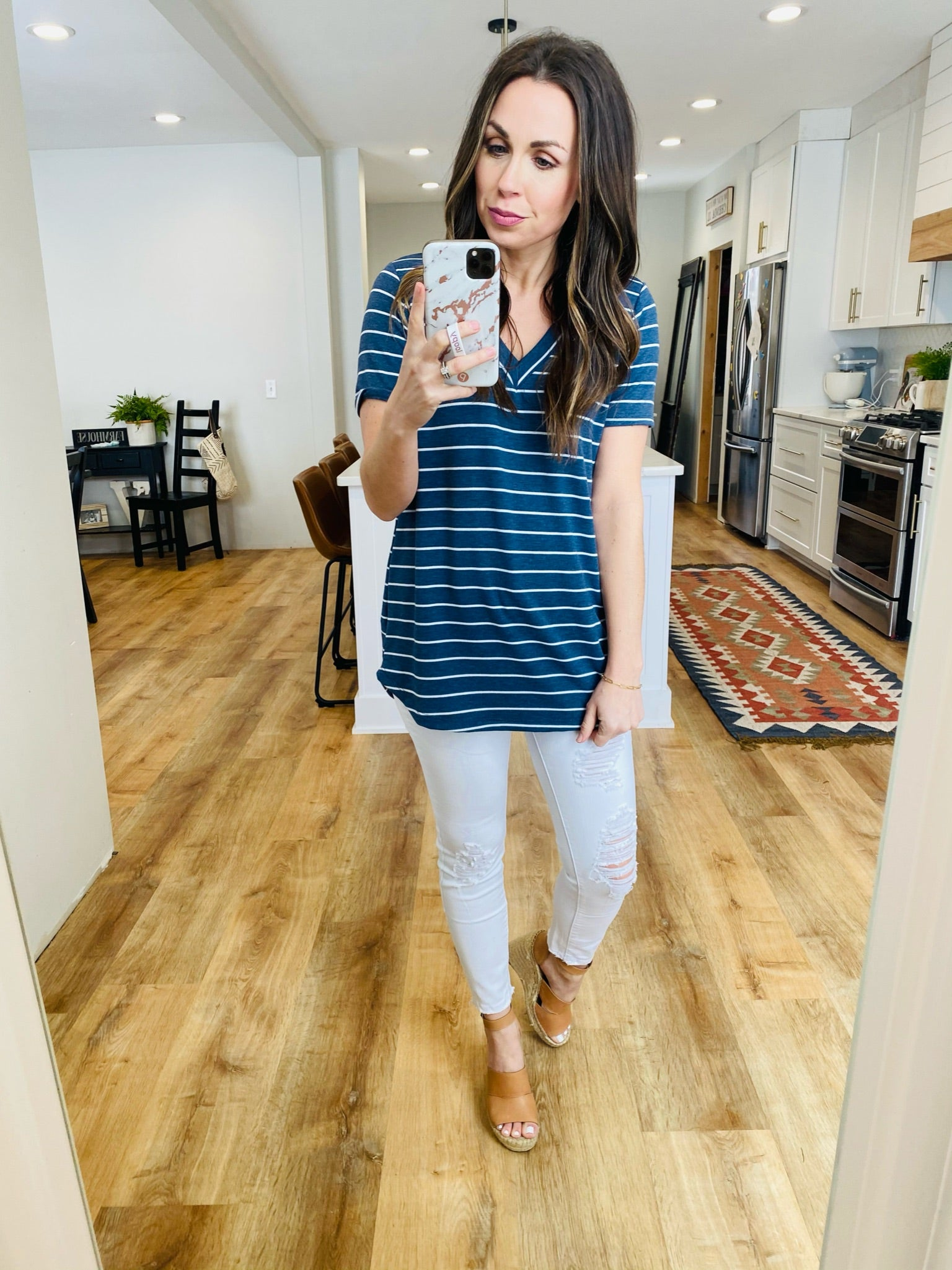Katie Striped Top-Navy - VerClare Boutique