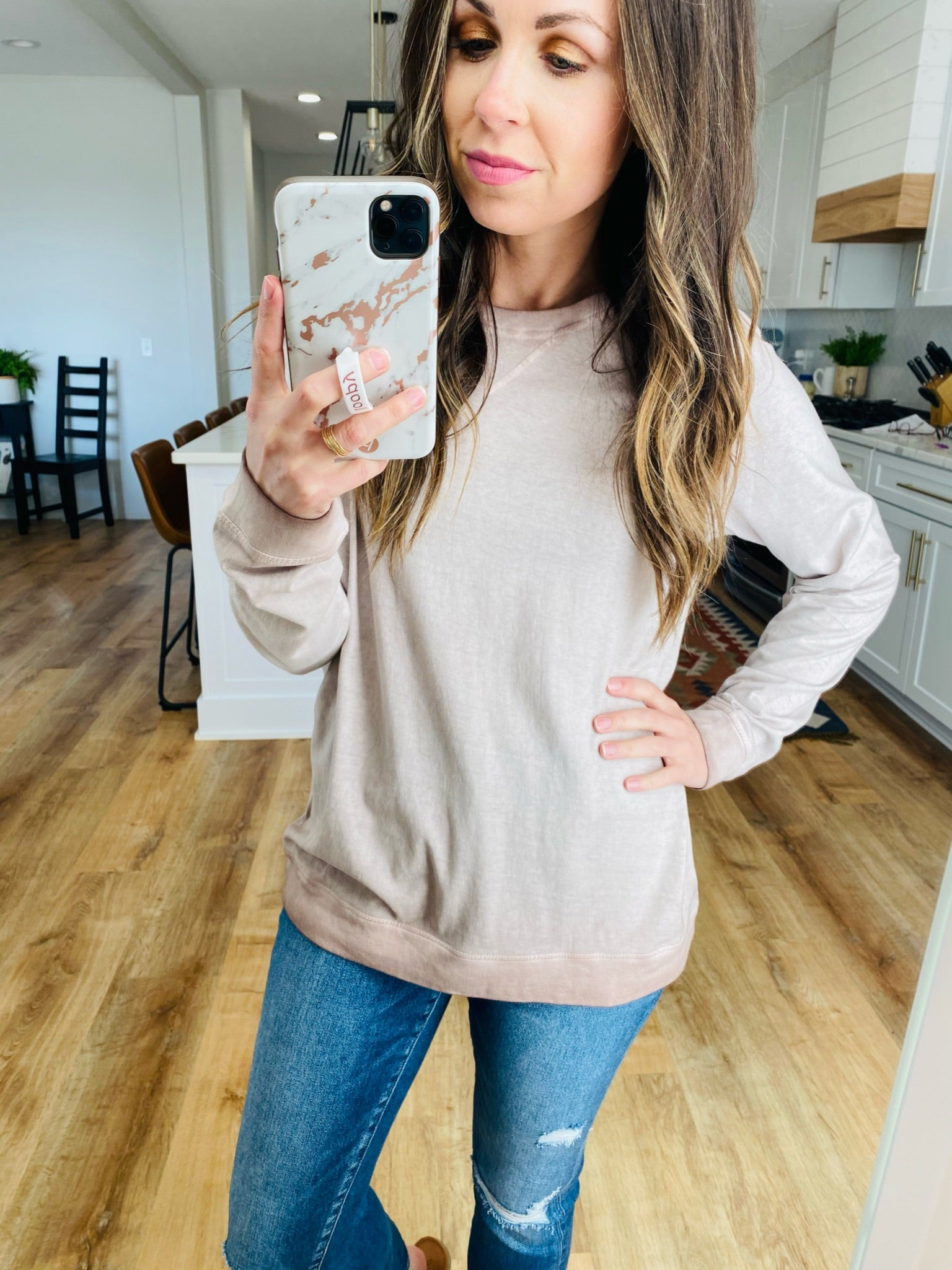 Dusty Pink Washed Pullover-VerClare Boutique, Chenoa Illinois