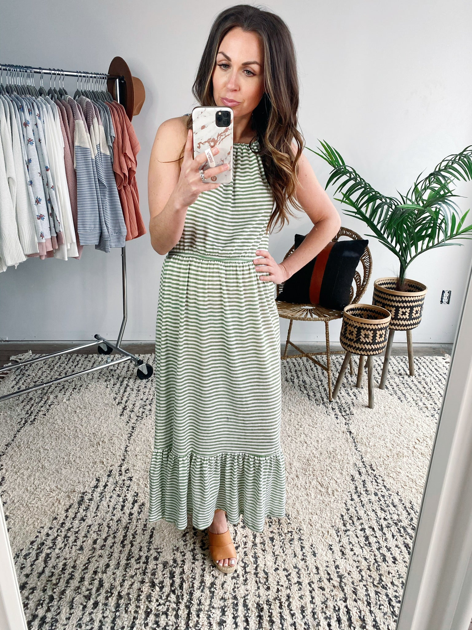 Contrast Tie Striped Midi Dress-VerClare Boutique, Chenoa Illinois