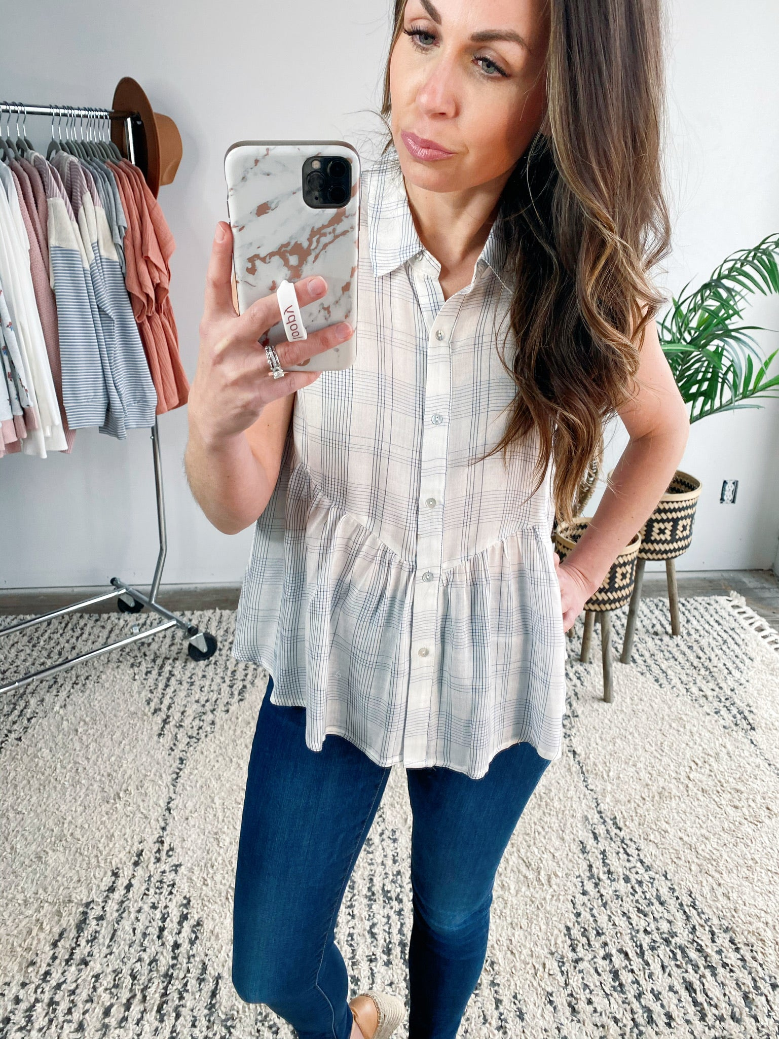 Linen Plaid Peplum Shirt-VerClare Boutique, Chenoa Illinois