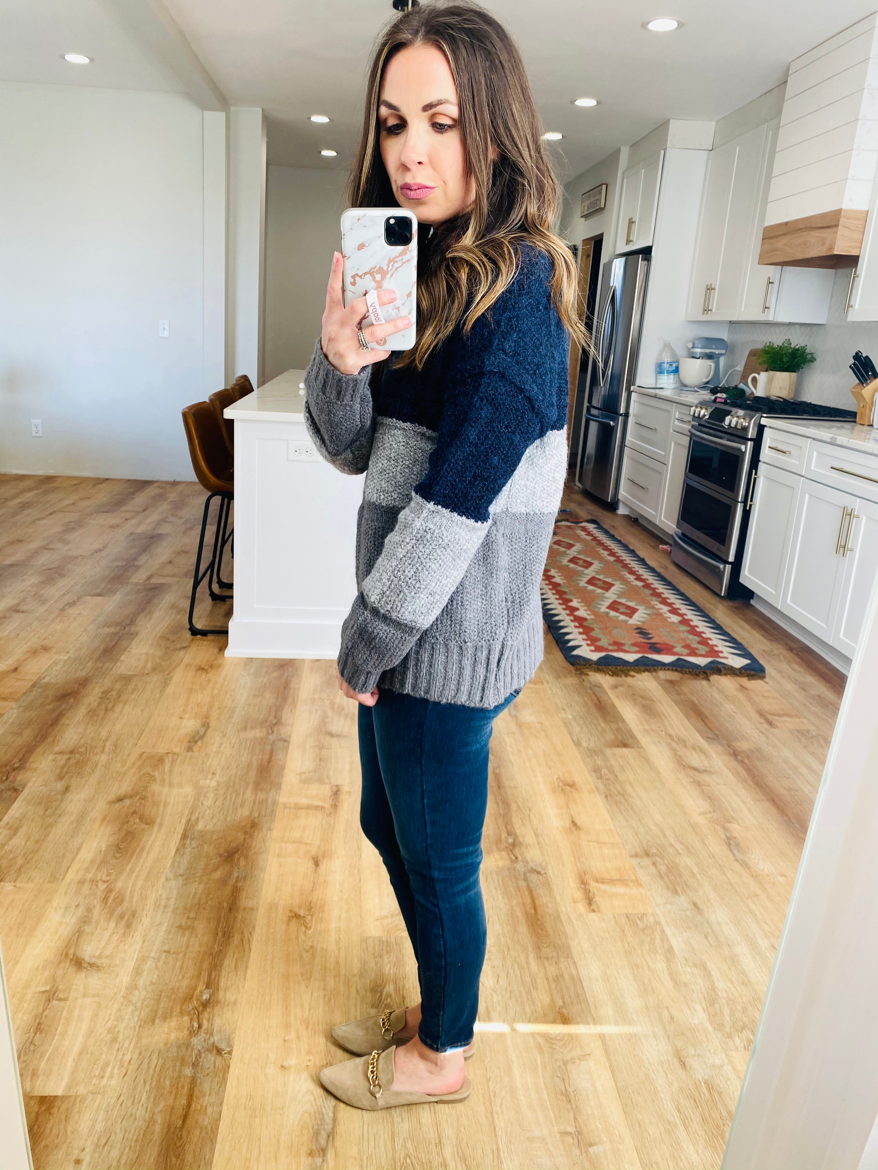 Navy & Grey Fireside Sweater - VerClare Boutique