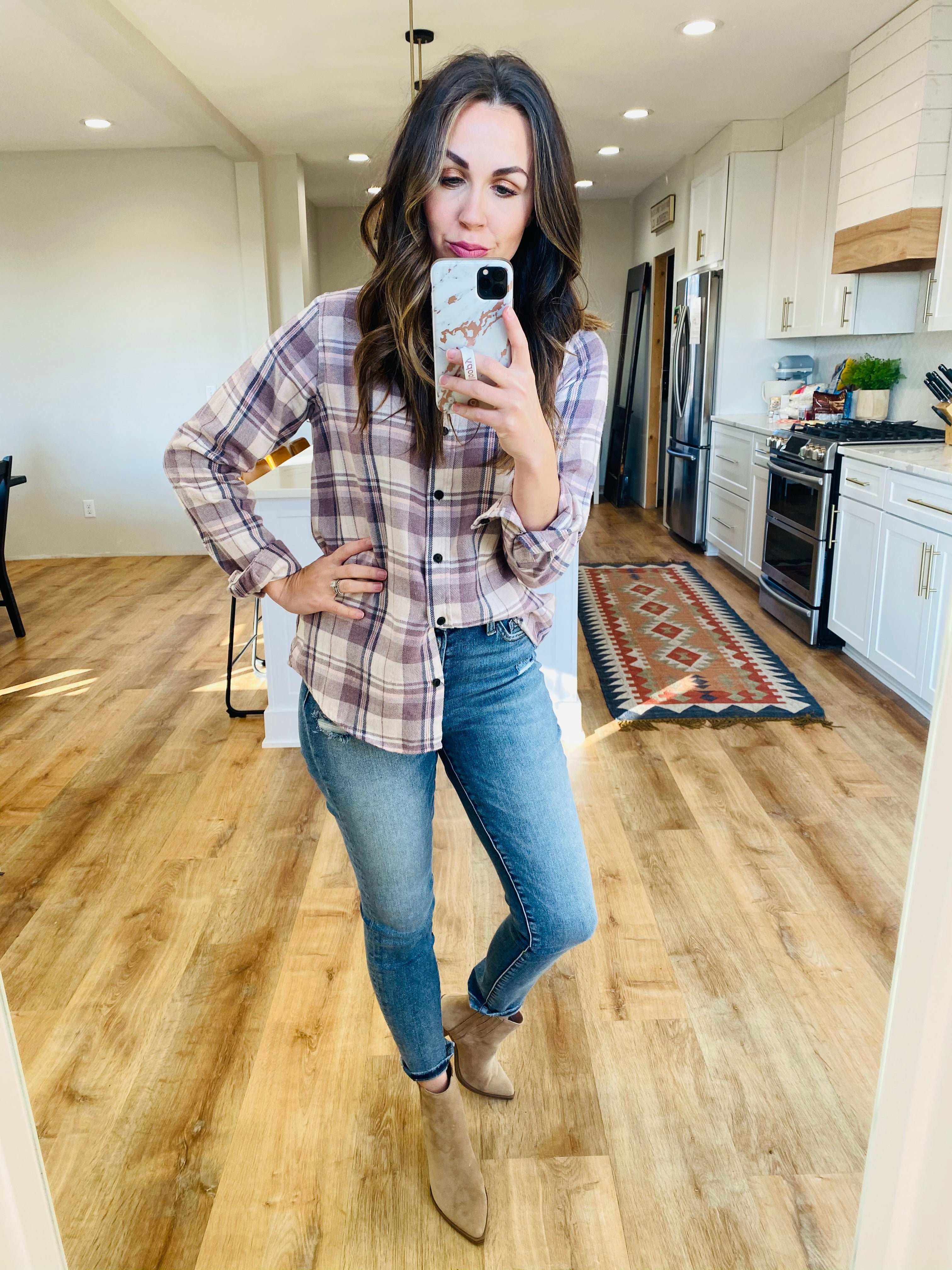 Plum Valley Plaid Shirt - VerClare Boutique