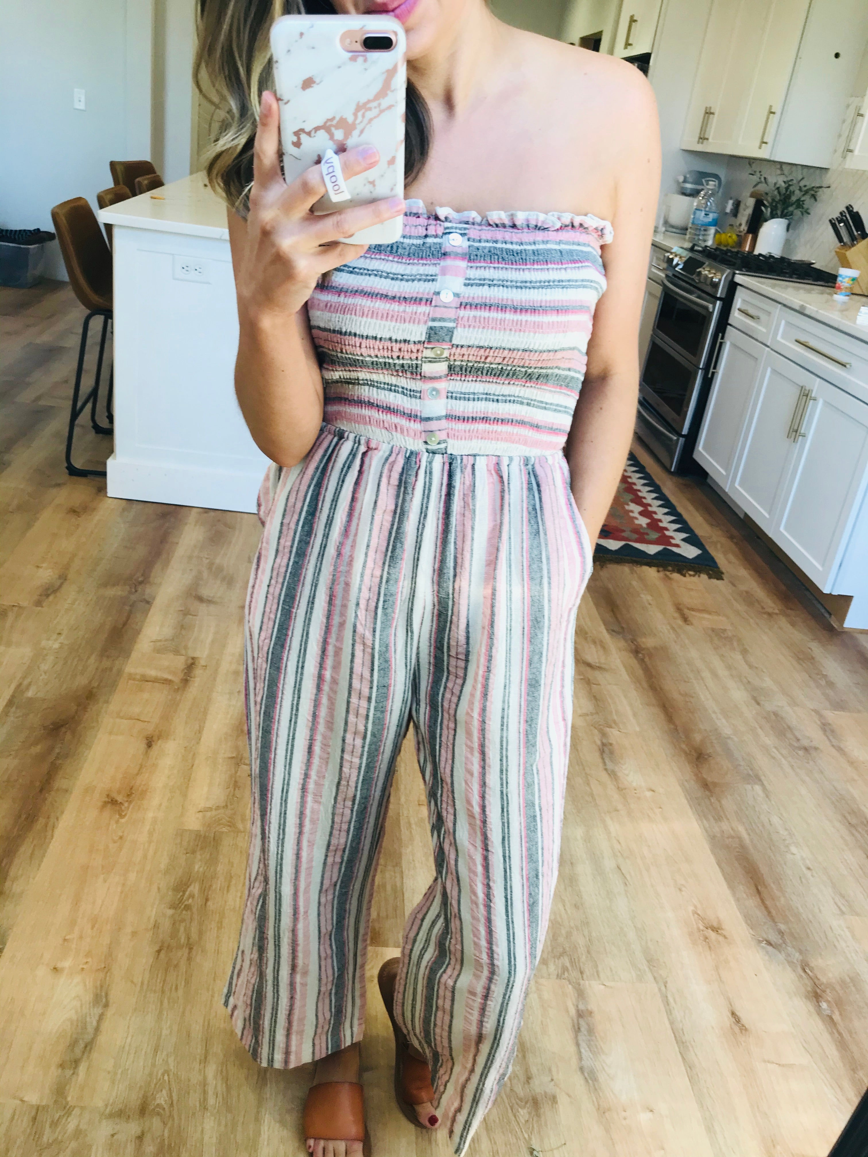 Striped Rose Strapless Palazzo Jumpsuit