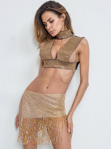 Gisela Crystalized Top- Gold