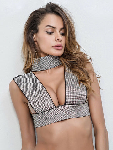 Gisela Crystalized Top- Silver