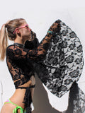 Ambient Wrap Top- Black Lace