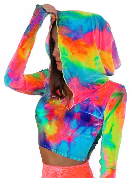 592451187 Day Trip Tie Dye Velvet Long Sleeve Hoodie - shopoceanmoon