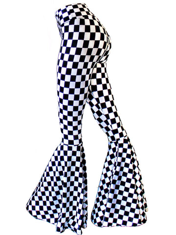 Mad Checkered Bell Bottom Flares