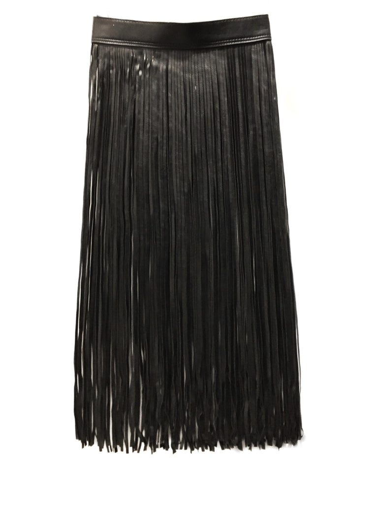 En Noir Leather Fringe Skirt Belt - shopoceanmoon