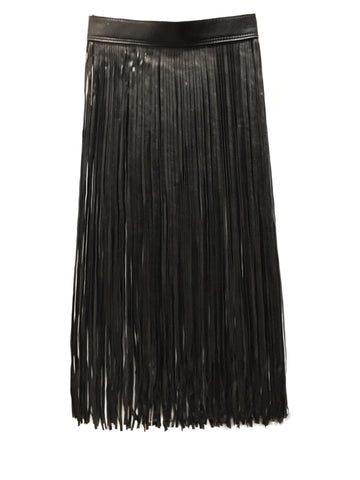 En Noir Leather Fringe Skirt Belt