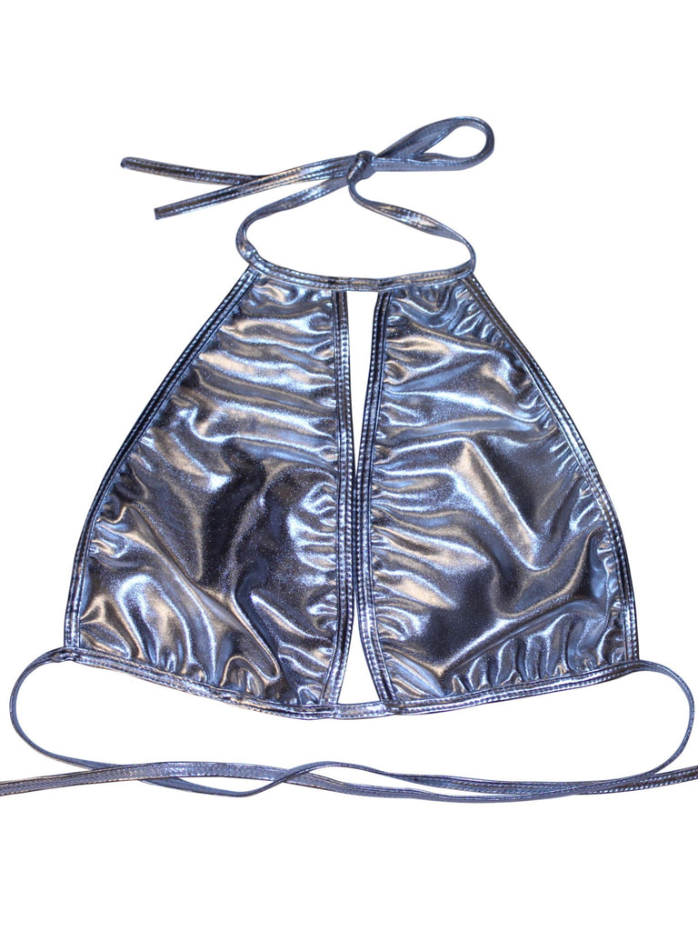 Metallic Cutout Halter - shopoceanmoon - 2