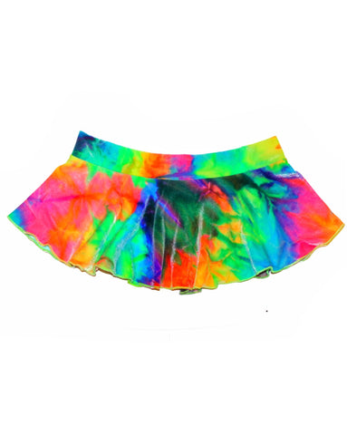 Day Trip Tie Dye Velvet Mini Skirt