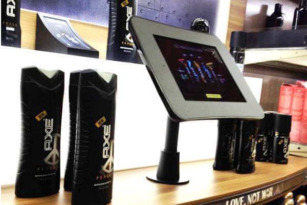 Shelf-mounted displays are eye-catching for Axe
