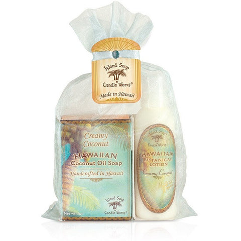 Island Soap and Candle Works - Hawaiian Botanical Creamy Coconut Organza Gift Bag - Lilly's Bathcarry - 1