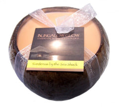 Bubble Shack Hawaii - Bungalow Glow Gardenias by the Seashack Coconut Shell Soy Candle