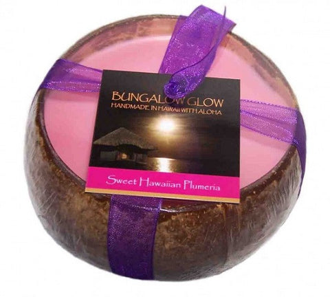 Bubble Shack Hawaii - Bungalow Glow Sweet Hawaiian Plumeria Coconut Shell Soy Candle - Lilly's Bathcarry
