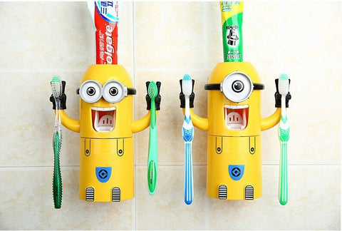2017 Home Bathroom Products Cute yellow Minions Design Set Cartoon Toothbrush Holder Automatic Toothpaste Dispenser Toothpaste