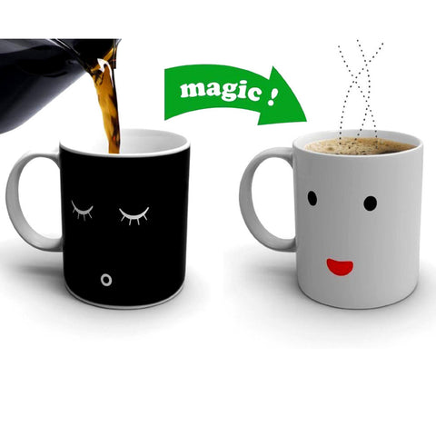 Active Magic Mug Cup Morning  Tea Milk Mug Smile Face Coffee  Sensitive Color-changing