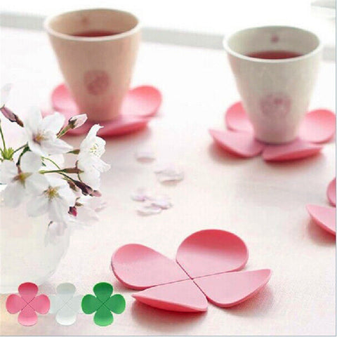 Silicone placemat cup coaster creative table mat flower shape for coffee and tea
