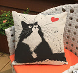 cartoon Cat pillow ,Married couples cartoon cushion ,Linen pillowcase,home decor sofa cushion,decorative Pillows no filling