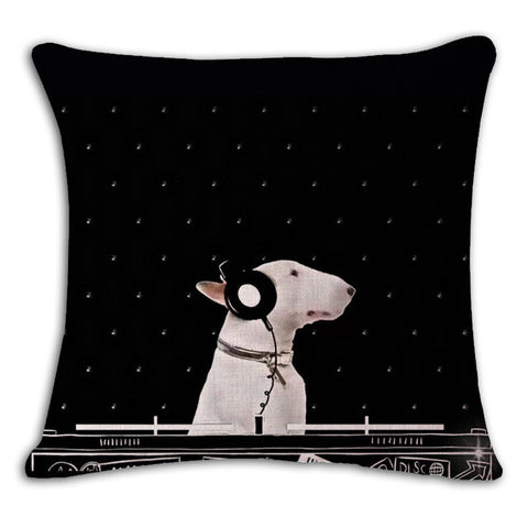 Angel Bull Terrier Cushion Covers Dog Pet Soft Cotton line Pillow Cases For Kids Baby Girl Boy Bedroom Decor