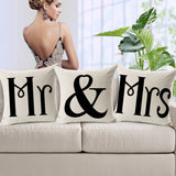Couples Cotton Linen Mr & Mrs Knitted Cushion Cover Decorative Pillow Covers Wedding Gift Home Decor Pillowcase 45*45 cm